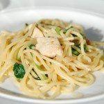 Spaghetti med kylling og spinat er en lækker hverdagsret, som er hurtig at lave. Vi har krydret retten med lidt bacon, og sovsen er cremet ind med en smule fløde. Foto: Guffeliguf.dk.
