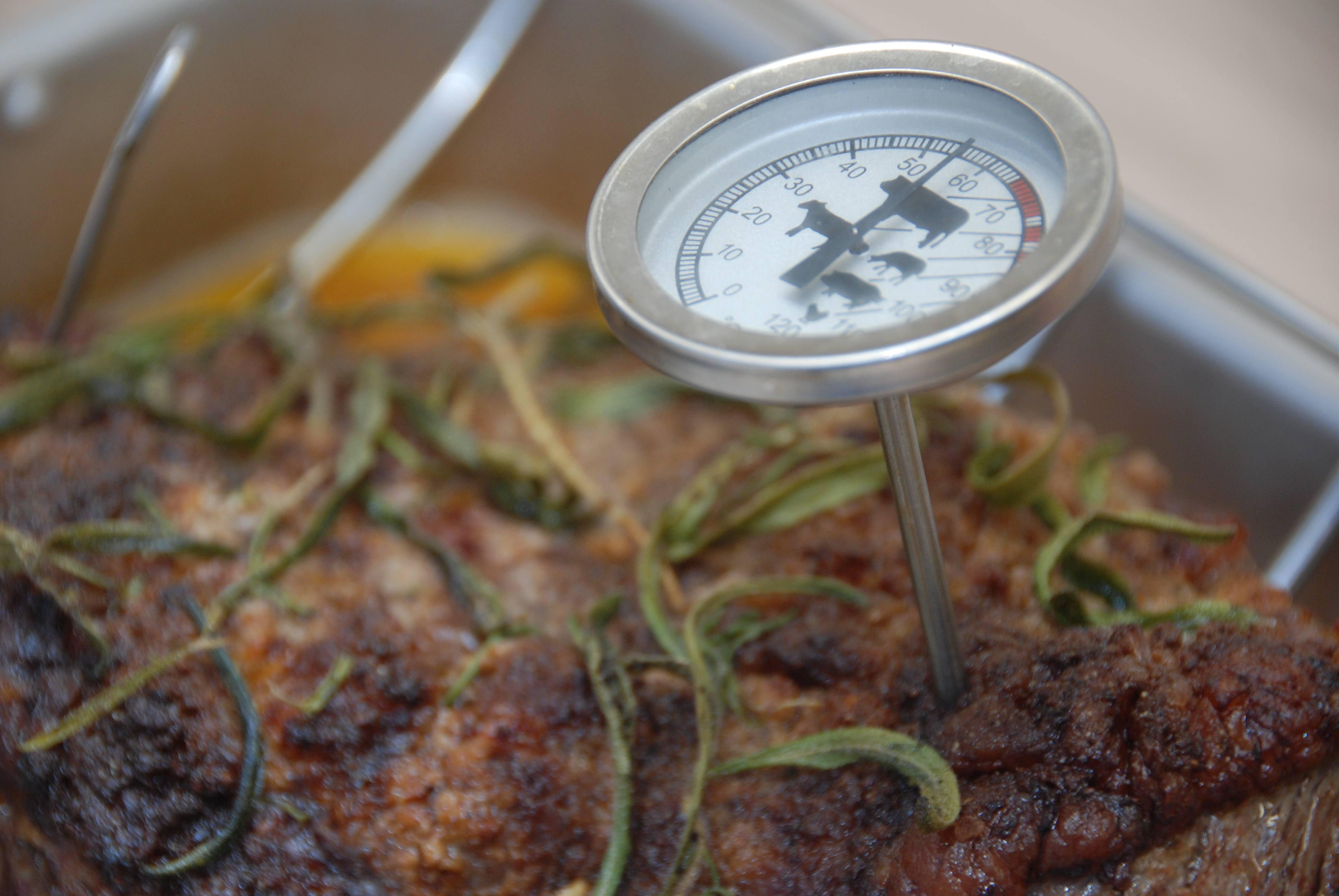 Kernetemperatur på oksekød, svinekød, kalvekød og fjerkræ
