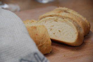 Et lækkert italiensk hvedebrød bagt med Manitoba hvedemel, der indeholder særlig meget gluten. Foto: Guffeliguf.dk.