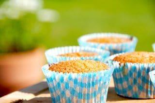 Lækre muffins med sandkage, der er tilført nogle dejlige chokoladestykker. Foto: Guffeliguf.dk.