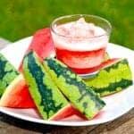 Billede med melonsorbet og vandmelon