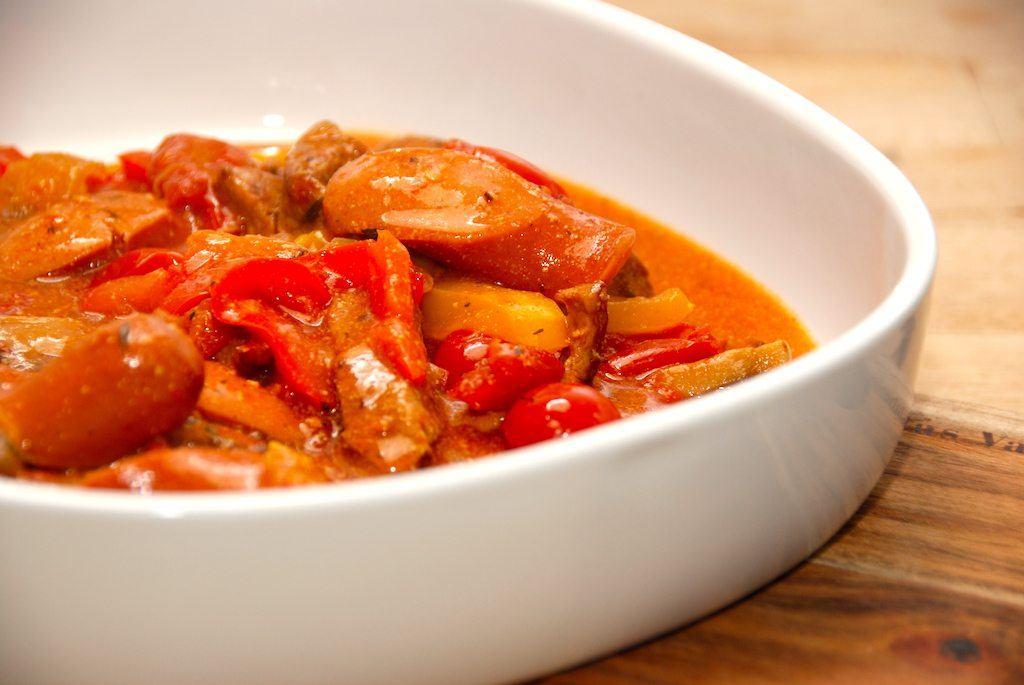 Mørbradpande med tomat- og flødesovs (svinemørbrad)