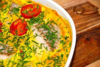 Ovnbagt mørksej med karrysovs (lækker fisk i ovn)