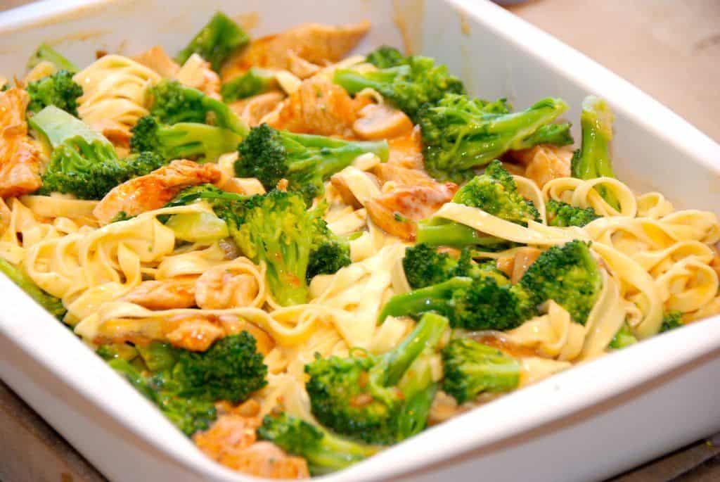 Ser det ikke dejligt ud? Kalkunfad med paprikastegt kalkunstrimler, ristede champignon, letdampet broccoli og en vellavet bechamelsovs. Foto: Guffeliguf.dk.