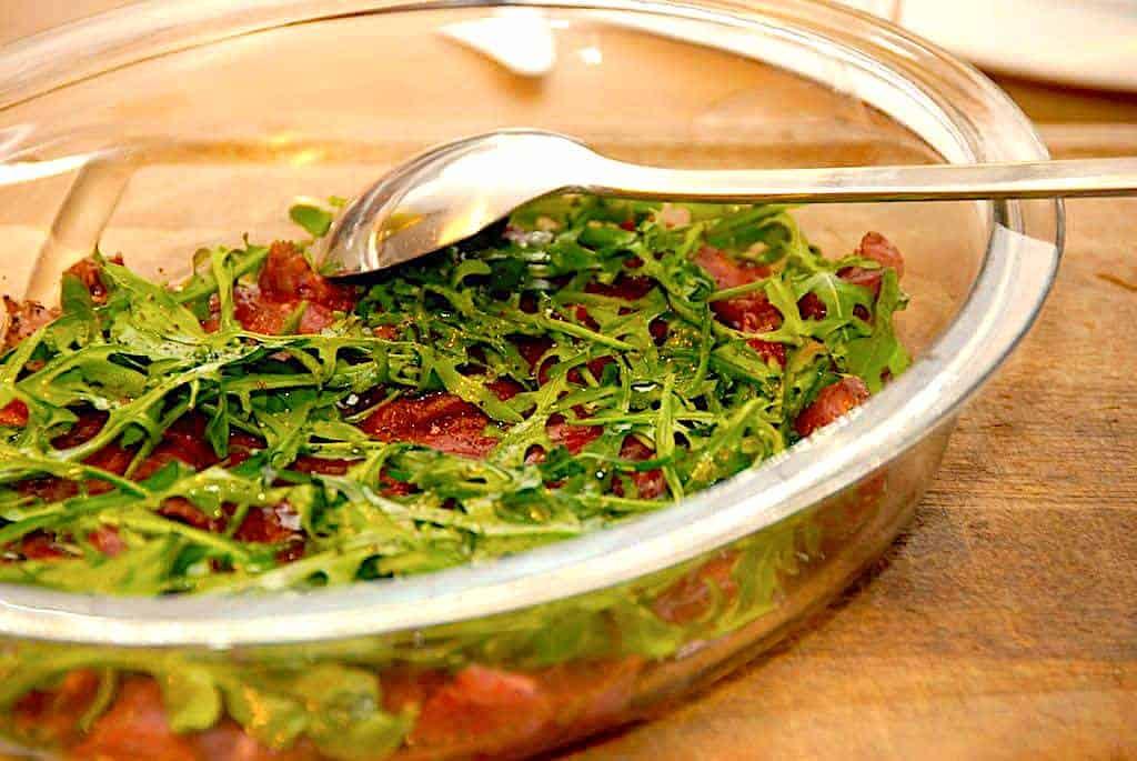 Oksemørbrad med rucola i ovn på 5 minutter