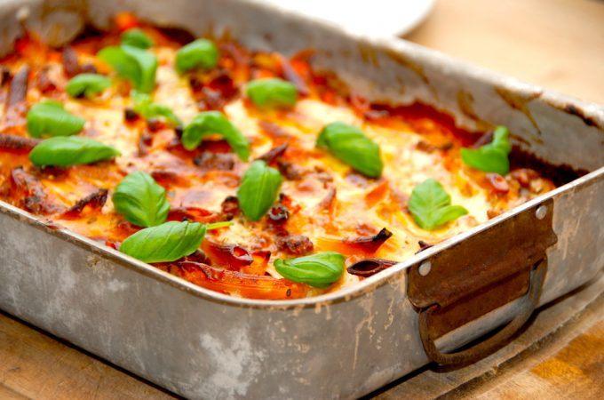 billede med lasagnette i fad