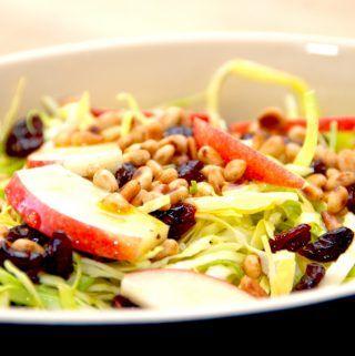 Spidskål i en lækker salat, der også er med pinjekerner, æble og tranebær. Foto: Madensverden.dk.