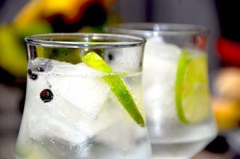 Sådan skal en rigtig gin og tonic se ud med masser af is, gin, tonic vand, lime og enebær. Den perfekte drink. Foto: Madensverden.dk.