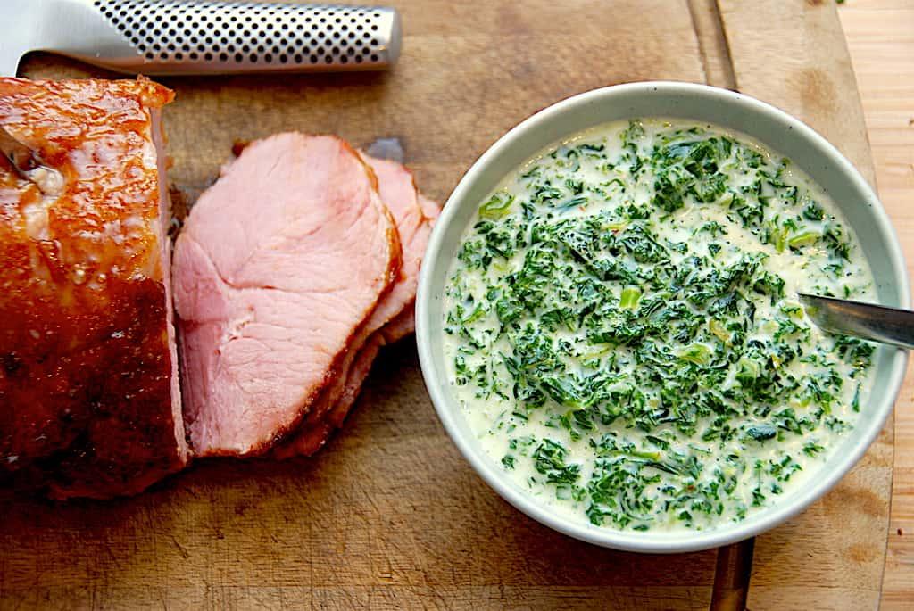 billederesultat for grønlangkål med skinke