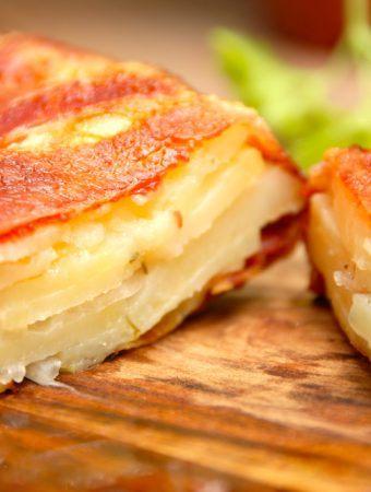Kartoffelkage med bacon (luksus flødekartofler)