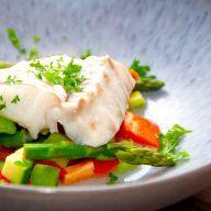 billede med dampet torsk i ovn