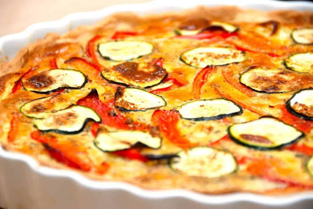 Kartoffeltærte med porrer og squash (vegetartærte)