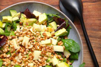 Dette er en skøn salat med avocado, der både er sund og flot at stille på bordet. Udover avocado indeholder salaten blandt andet også æbler, ristede pinjekerner og en grøn salatblanding. Dressingen består blot af olivenolie og citronsaft. Foto: Madensverden.dk.