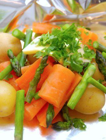 Grillede grøntsager i sølvpapir (kan laves i forvejen)
