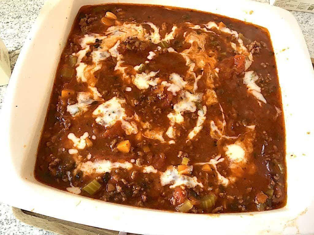 billede med færdig lasagne
