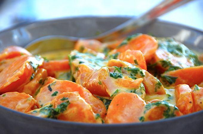 billede med cremede gulerødder