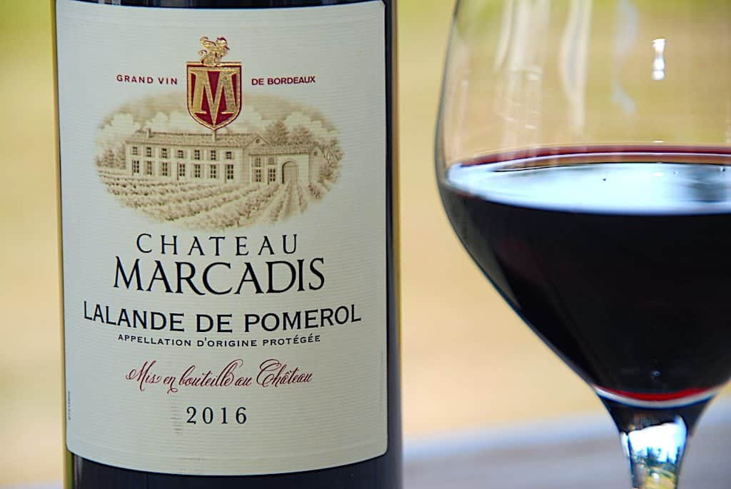 billede med rødvin fra chateau marcadis 2016