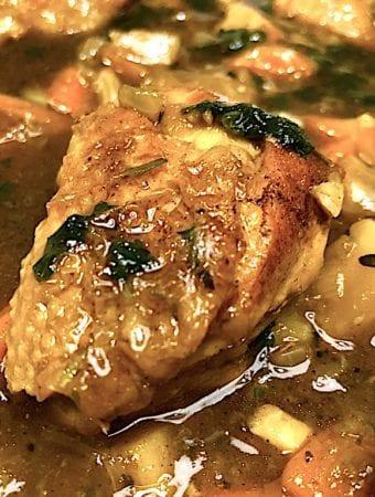 Opskrift på kylling i øl med rodfrugter og kartoffelmos