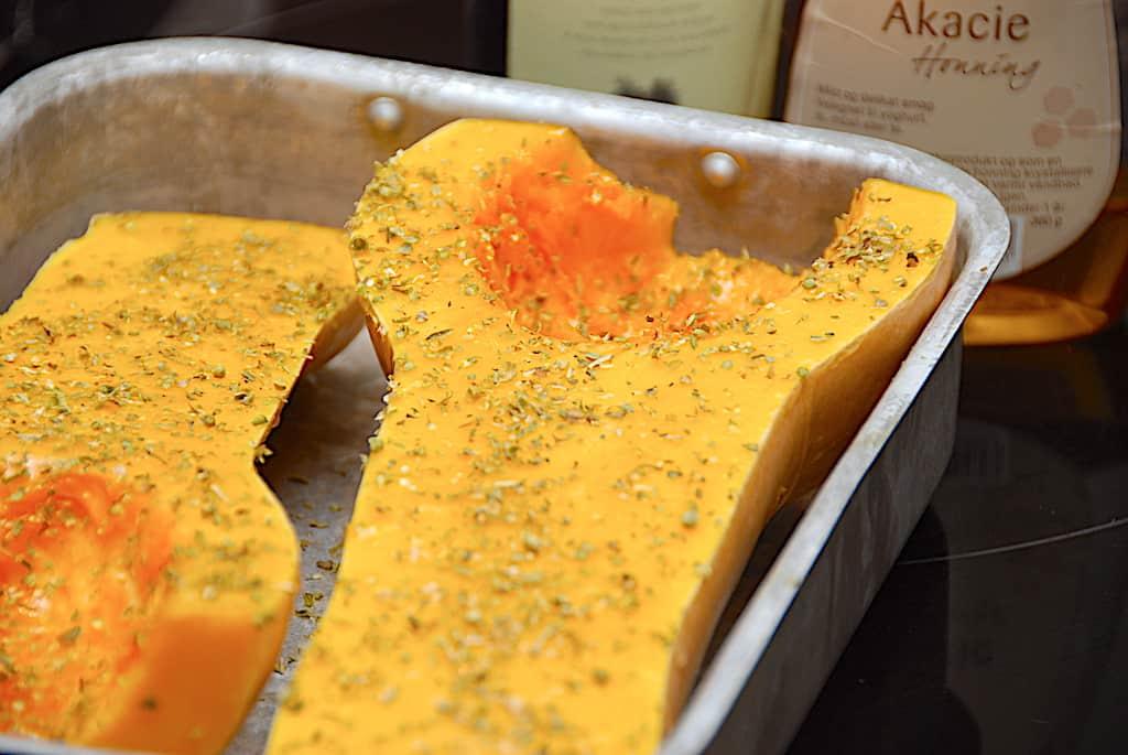 Honningbagt butternut squash græskar