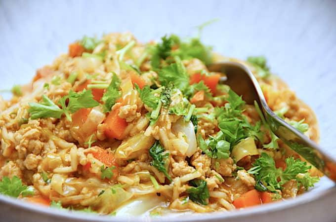 hakket kylling med spidskål og ris