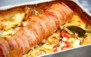 baconmørbrad med flødegrøntsager