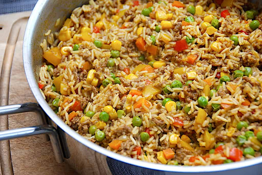 Orientalsk risret a la Knorr med hakket oksekød