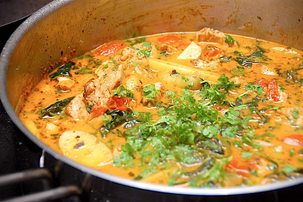 Kartoffelpande med kylling og spinat - hurtig aftensmad