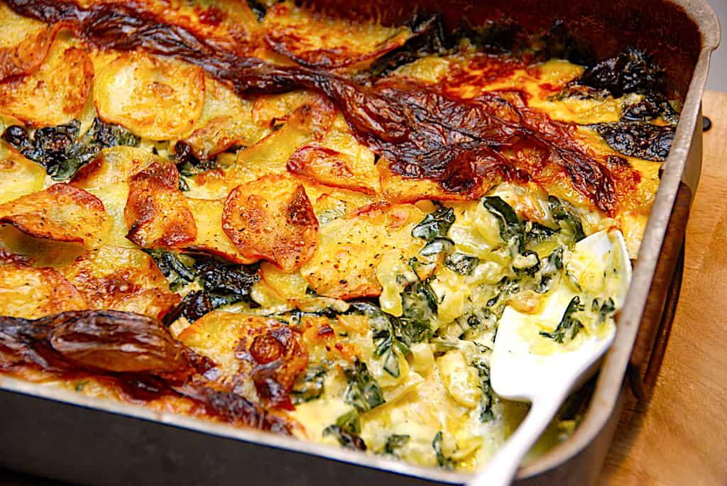 Spinat- og flødekartofler