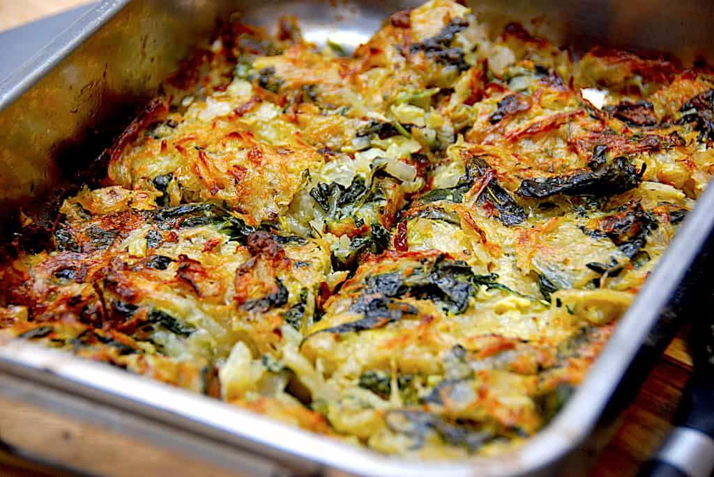 Spinatrøsti med kartofler og frisk spinat