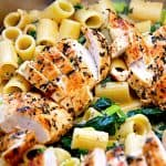 pasta i spinatsauce med kylling