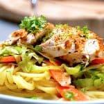 pasta med grønt og kylling
