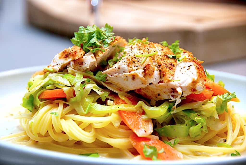 Pasta med grønt og kylling på 20 minutter