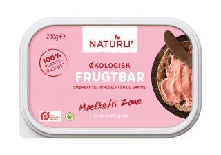Frugtbar er et produkt, der kombinerer smør og jordbærmarmelade i en slags jordbærsmør. Lyder det fristende? Madens Verden ser nærmere på produktet. Foto: Naturli' Foods.