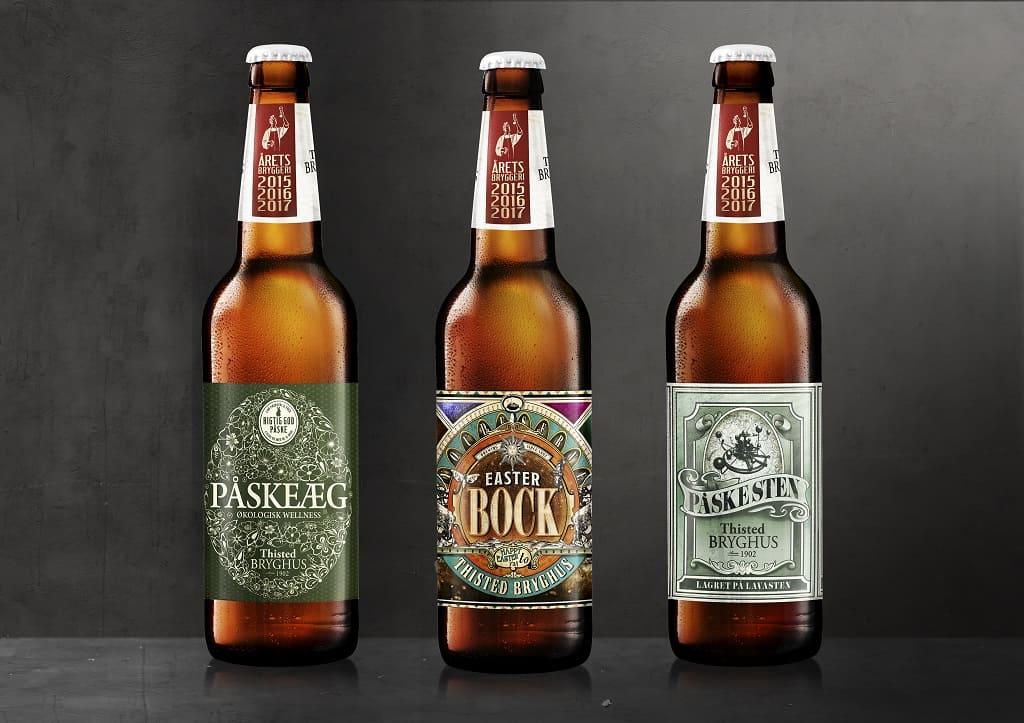 Tre flasker med påskebryg fra Thisted bryghus