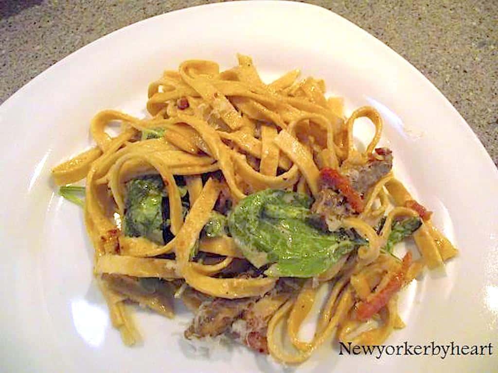 pasta med oksekød og citronfløde