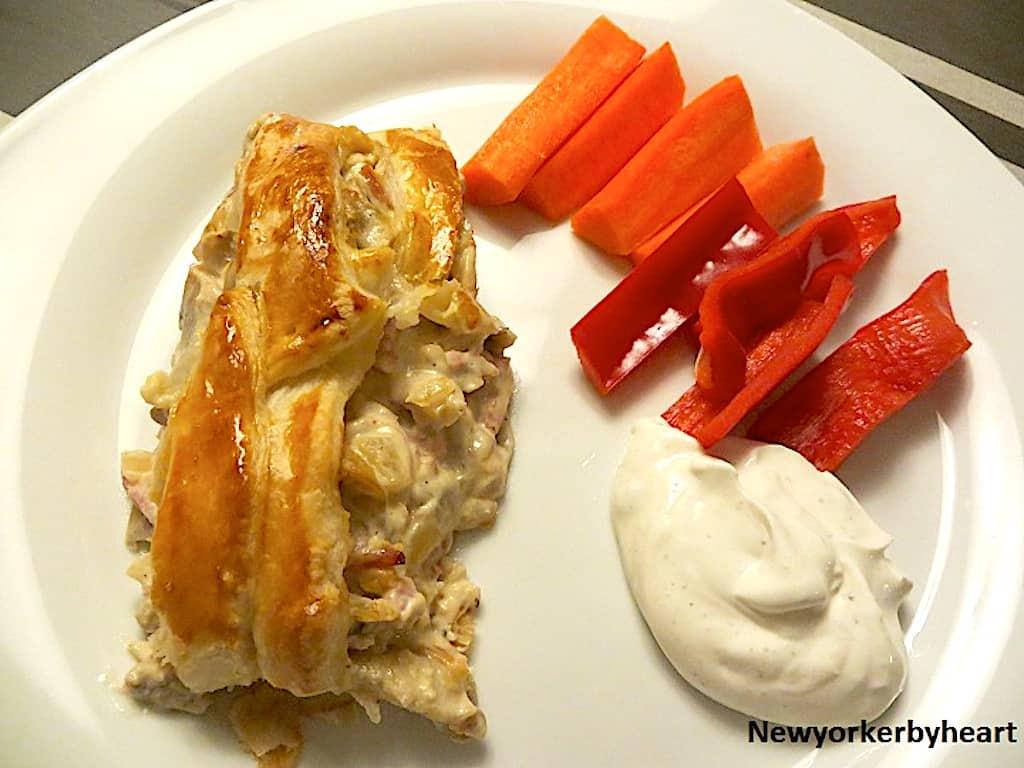 Skinkestang - nem opskrift med butterdej og skinke