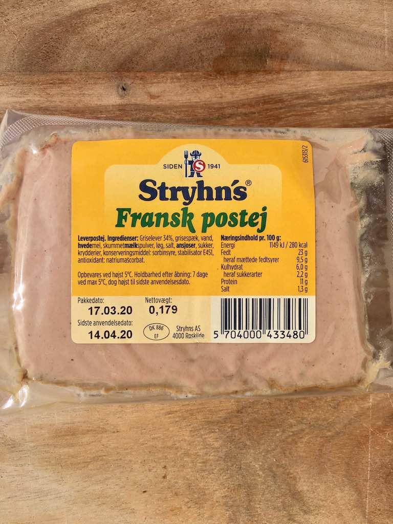 Smagstest af leverpostej, Stryhn's Fransk postej