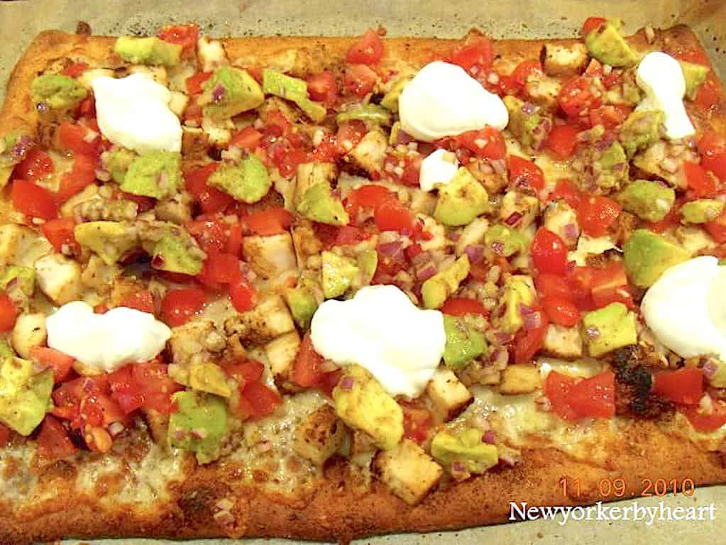 Grilled chicken taco pizza