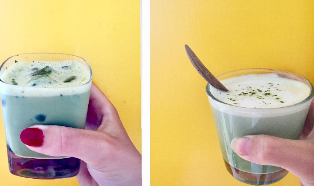 Matcha latte i glas