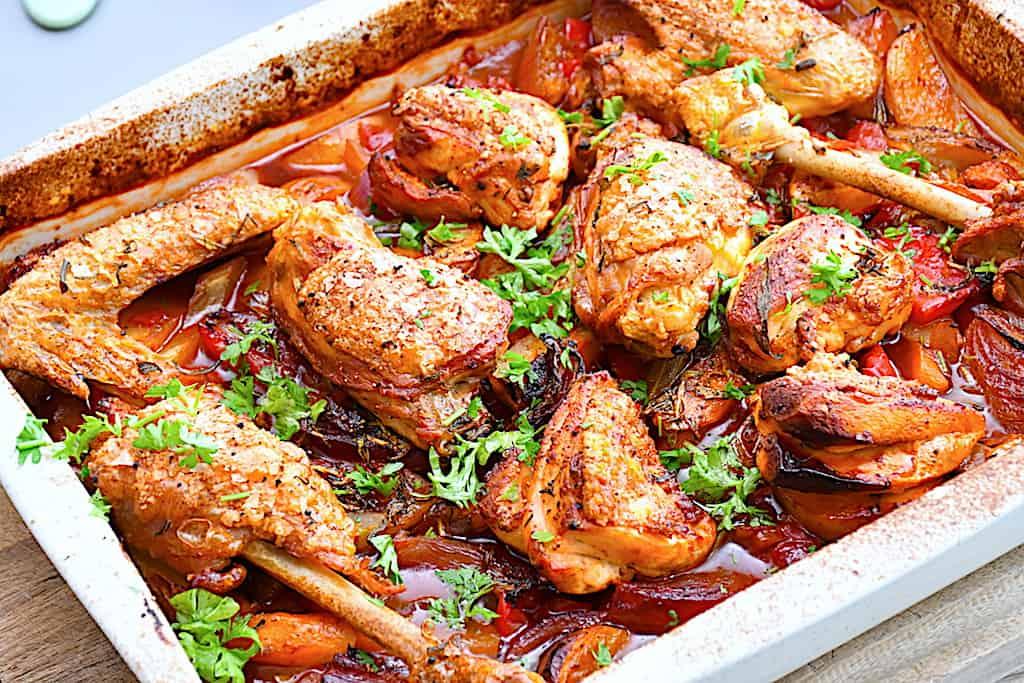 Kylling med tilbehør fra det italienske køkken
