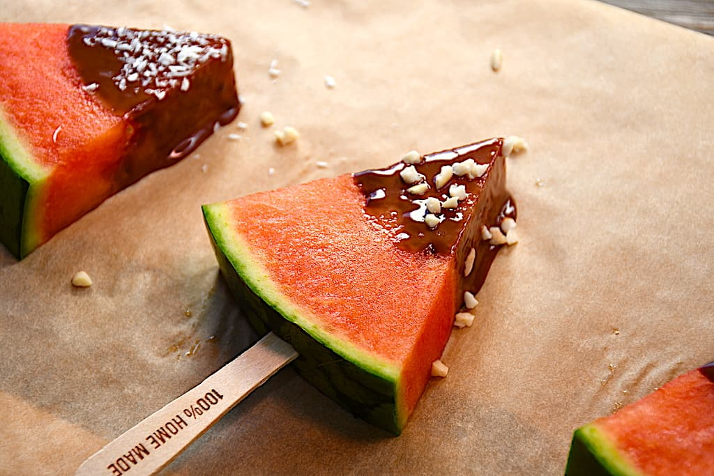 Vandmelon med chokolade - som snack eller is