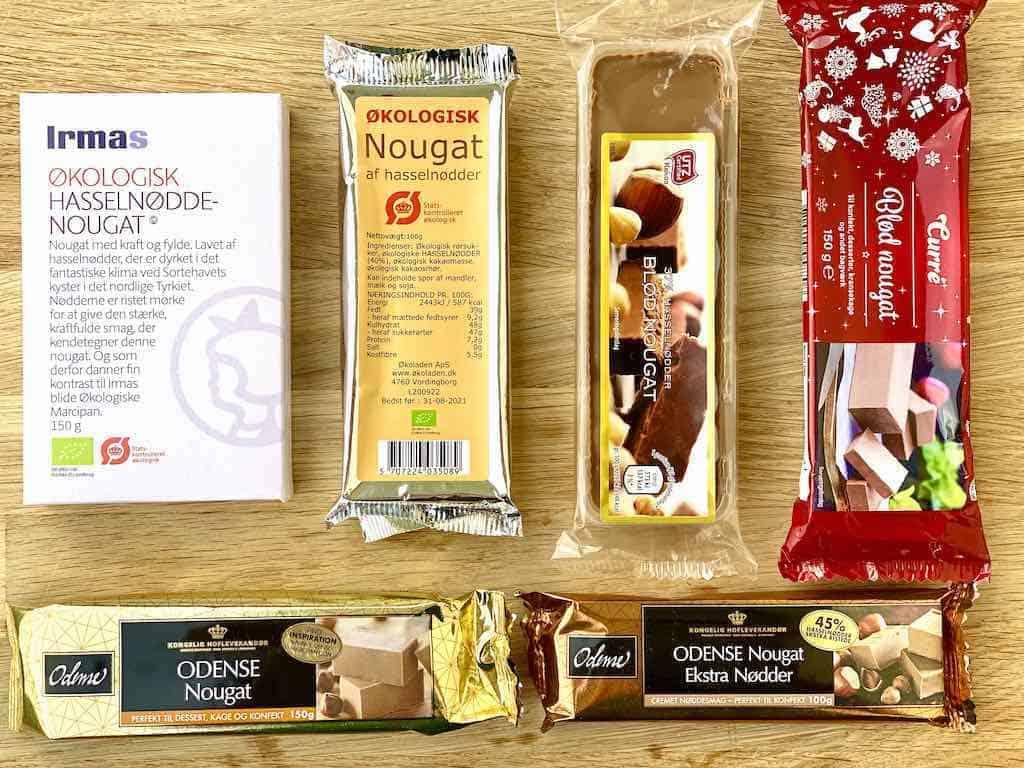 I denne smagstest af nougat er der testet disse seks forskellige varianter med priser fra 13 til 43 kroner for 100 gram. Foto: Charlotte Mithril / Madensverden.dk