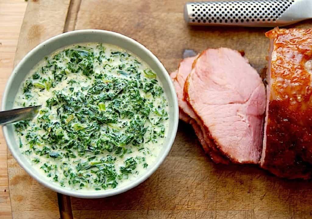 Grønlangkål med skinke