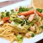 billederesultat for pasta med grøntsager og kylling
