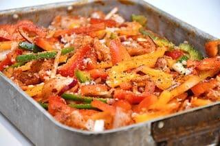 fajitas med kylling og peberfrugter