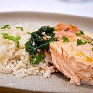 laks med ris og spinat