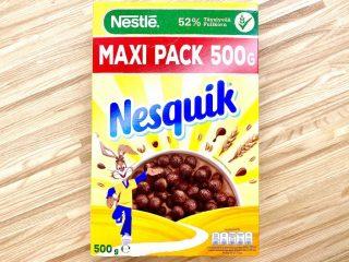 Nesquik morgenmad er sprøde kakaokugler, der forvandler mælken til kakaomælk. De er en favorit blandt børn, men pas på det høje sukkerindhold på hele 25% Foto: Charlotte Mithril