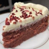 Red velvet kage stykke