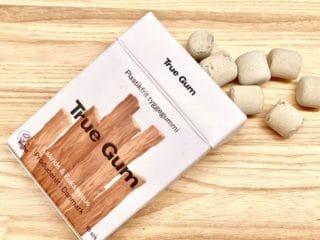 Tyggegummi som dette fra danske True Gum er lavet uden plastik. I stedet for plastik bruges saften fra gummitræer. Her er det en variant med lakrids & eukalyptus. Foto: Charlotte Mithril