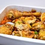 bagt kylling med gulerødder og kartofler